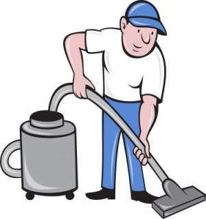 Man Vacuuming His Carpet